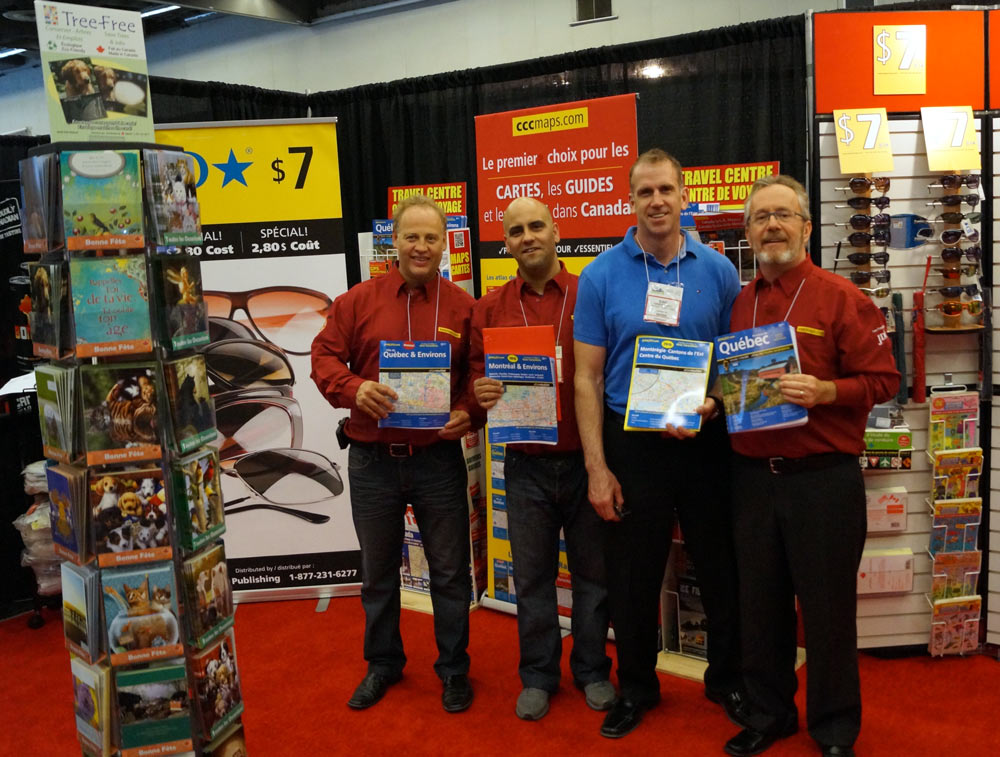 The CCCmaps Quebec sales team proudly display their best selling 2015 product line.