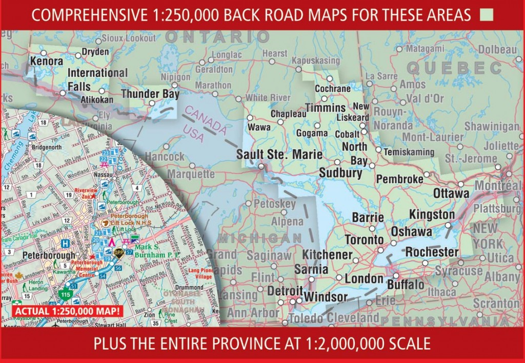 The coverage in the 2015 CCCmaps Ontario Back Road Atlas.