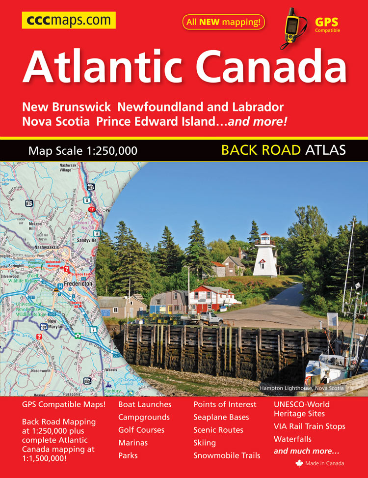 The 2015 CCCmaps Atlantic Canada Road Atlas features all new, GPS compatible mapping at a 1:250,000 scale.