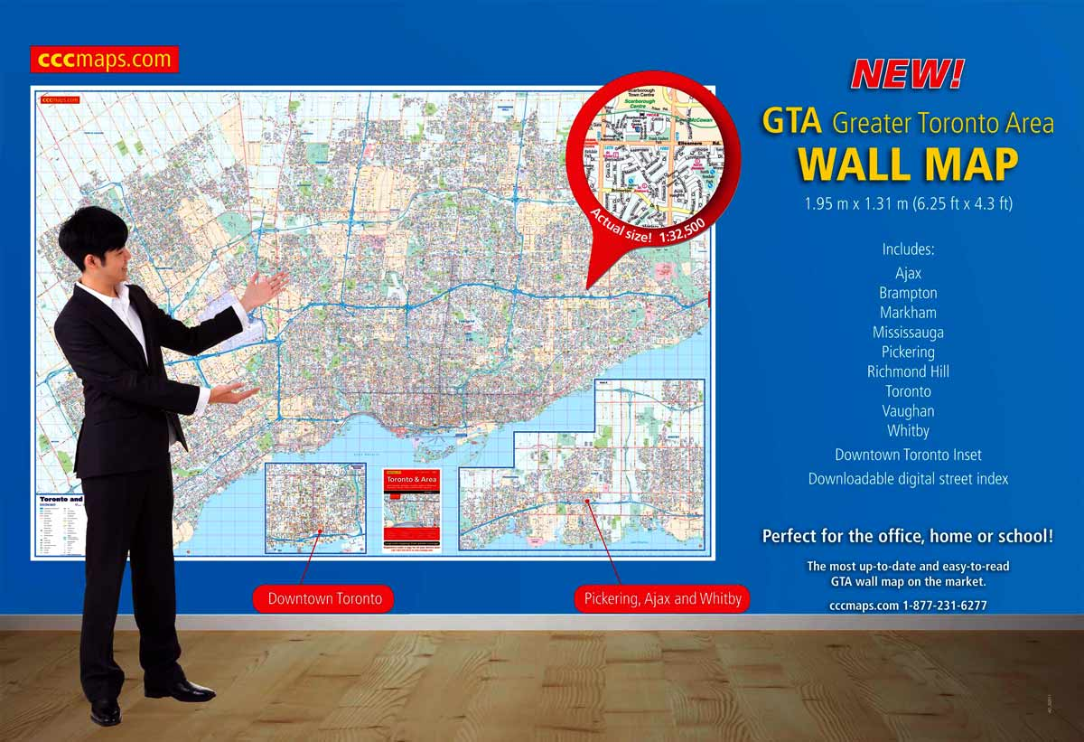 The 2015 Toronto and Area Wall Map from CCCmaps.com